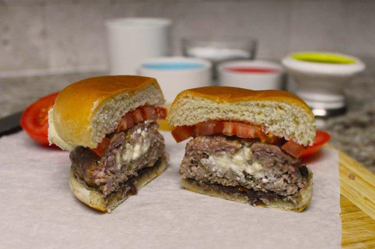 Feta Stuffed Lamb Burger Cut