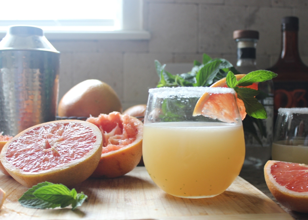 Grapefruit Mint Margaritas Garnished