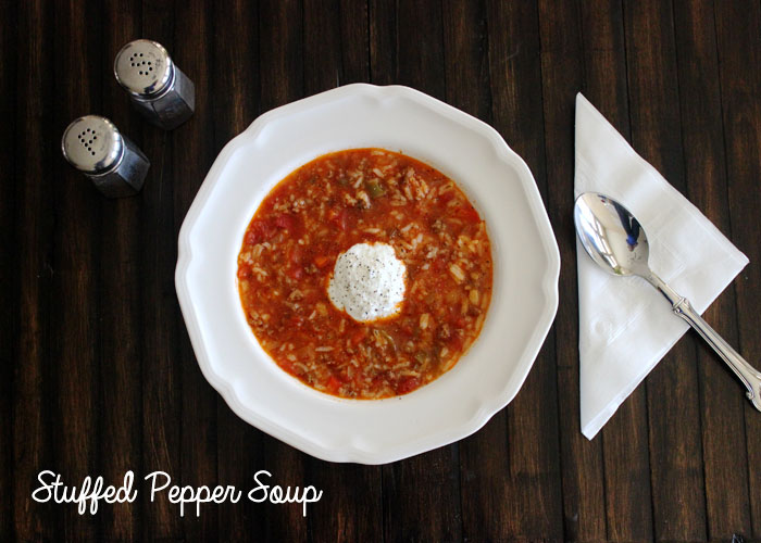 Greek Style Stuffed Pepper Soup