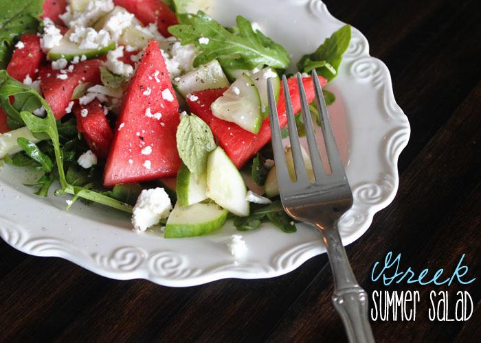 Greek Summer Salad Watermelon Cucumber Arugula Feta